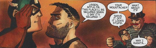 Nick Fury confronts Captain America while Bucky makes a jab at Dum Dum Dugan
